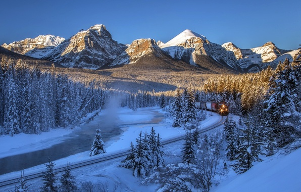 Picture winter, forest, snow, trees, mountains, river, train, Canada, railroad, Albert, Banff National Park, Alberta, Canada, …