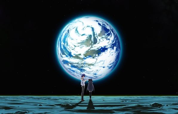 Picture girl, space, earth, the moon, planet, anime, art, pair, guy, two, izumi mahiru