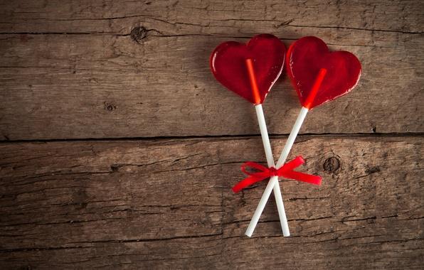 Photo wallpaper Lollipop, lollypop, heart, love, heart, love, romantic