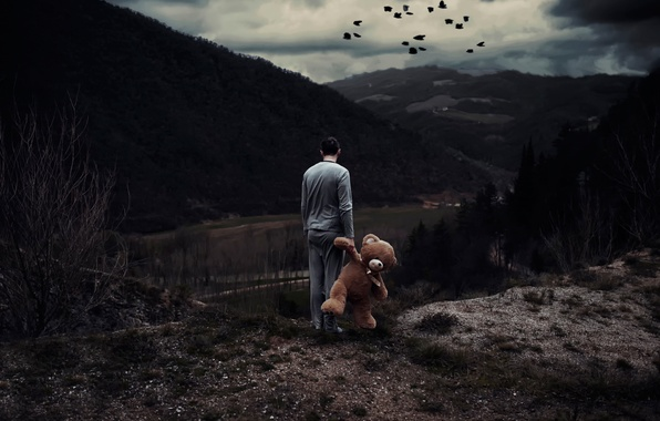 Picture landscape, toy, people, view, bear, Nightmares