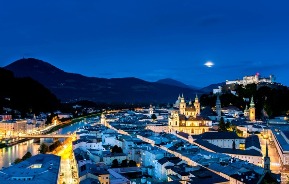 Picture light, night, bridge, the city, lights, river, building, road, home, Austria, street, Salzburg, Salzburg, Austria