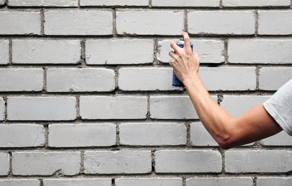 Picture wall, graffiti, bricks, hand, arm