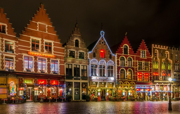 Picture night, lights, area, Christmas, Belgium, Bruges, The Grote Markt