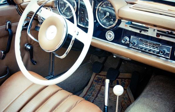 Picture car, panel, leather, devices, the wheel, salon, mercedes benz, photo, photographer, retro, markus spiske, pagode …