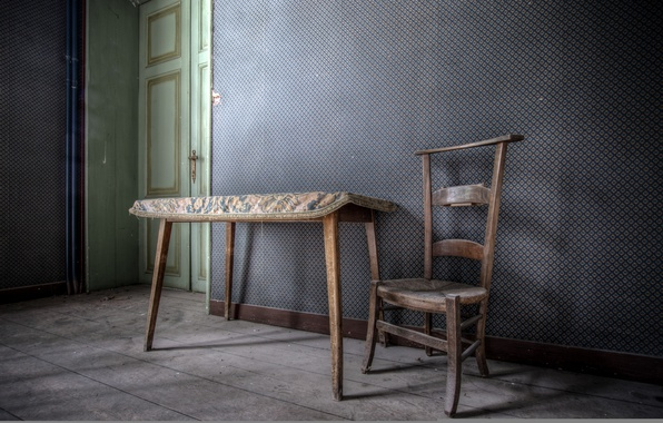 Picture table, room, chair