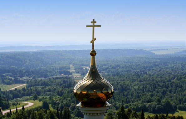Picture forest, the sky, cross, dal, Belogorye, The dome, Perm Krai