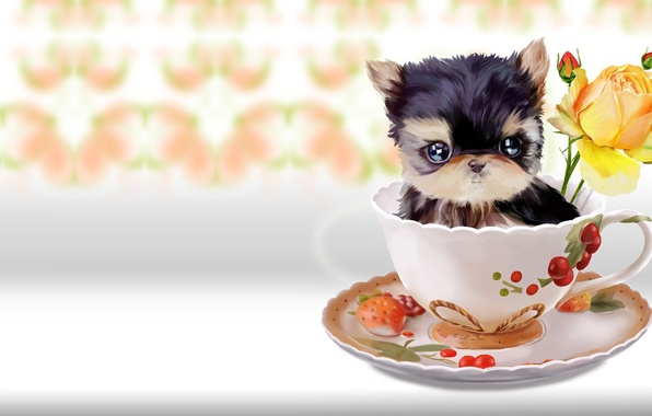 Picture flower, rose, baby, art, mug, dog, children's, lorri kajenn the