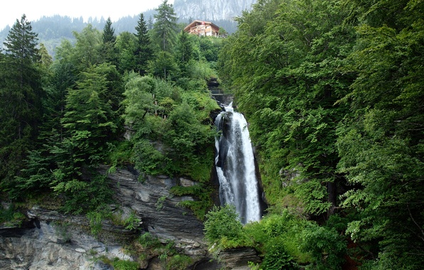 Picture the sky, trees, mountains, house, waterfall, Switzerland, Switzerland, Reichenbach