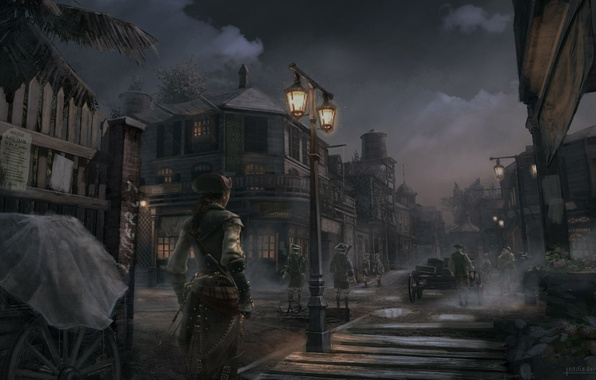 Picture girl, night, the city, Evelyn, assassin, Assassin's Creed 3, Assassin's creed 3, New Orleans Dusk