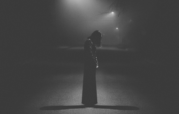 Picture light, sad, dress, woman, street, loneliness, melancholy, shadows, darkness, lamp posts