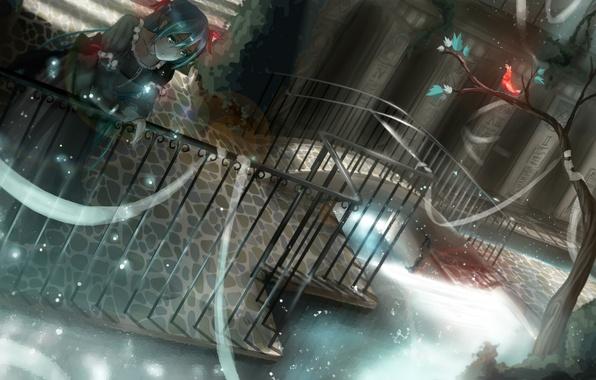 Picture girl, bridge, the city, tape, tree, magic, art, bird, vocaloid, hatsune miku, Vocaloid
