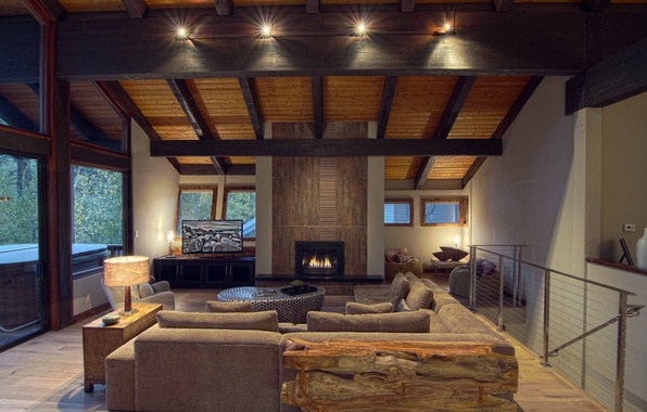 Picture design, house, style, Villa, interior, fireplace, living room, living room