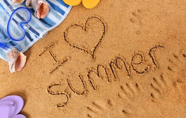 Picture summer, beach, sand, i love