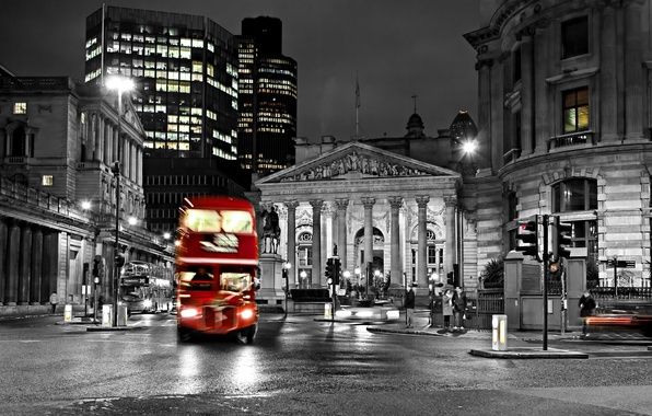 Picture road, night, city, the city, lights, lights, black and white, street, England, London, blur, bus, …