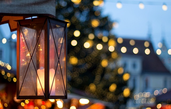 Picture macro, light, the city, lights, holiday, street, candle, lantern, bokeh