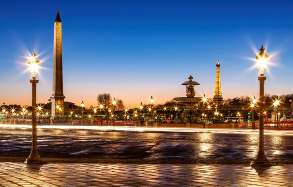 Picture road, bridge, the city, France, Paris, the evening, pavers, excerpt, lighting, lights, fountain, Eiffel tower, …