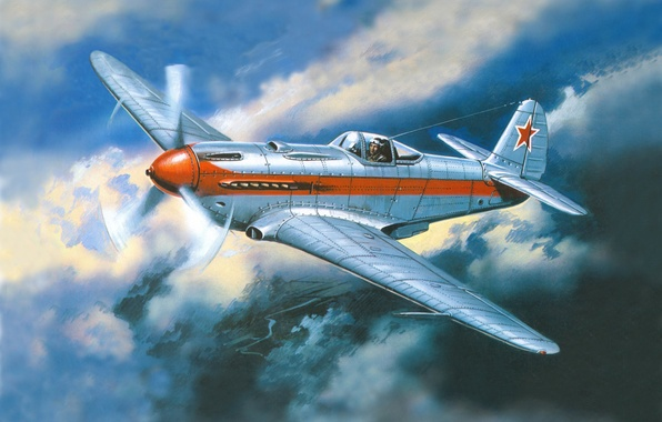 Picture the sky, clouds, figure, fighter, art, flight, the plane, job, Soviet, WWII