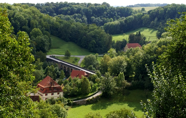 Picture road, greens, forest, grass, trees, bridge, home, Germany, Bayern, river, the view from the top, ...