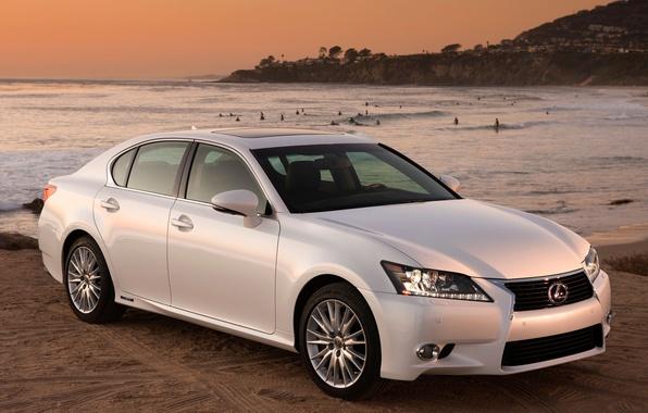 Picture white, beach, the sky, sunset, the ocean, shore, lexus, sedan, Lexus, the front, gs450h