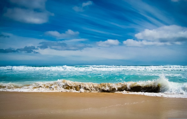 Picture sand, sea, wave, foam, water, the ocean, landscapes, wave