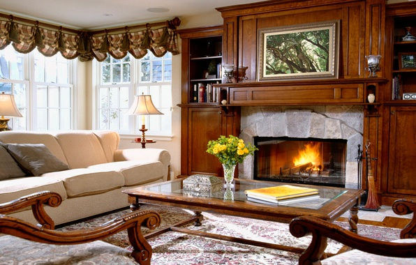 Picture comfort, house, style, room, sofa, furniture, interior, fireplace