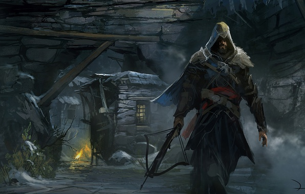 Picture house, stones, weapons, people, the fire, art, hood, cave, Assassin's Creed, Revelations, crossbow