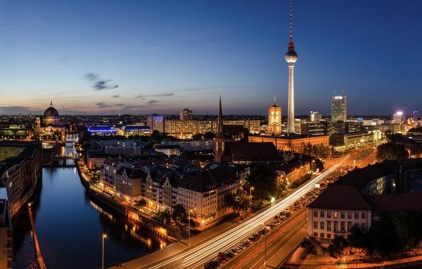 Picture night, bridge, city, the city, lights, lights, road, Germany, road, bridge, street, night, street, germany, …