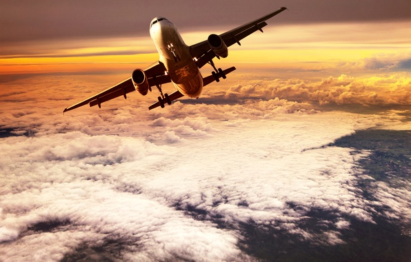 Picture the sky, clouds, flight, the plane, height, horizon, glow, the rise, in the air, passenger, …