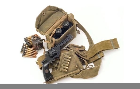 Photo wallpaper binoculars, white background, UK, cartridges, pomegranate, revolver, Enfield