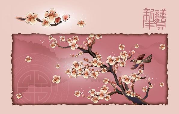 Picture tree, bird, Sakura, character