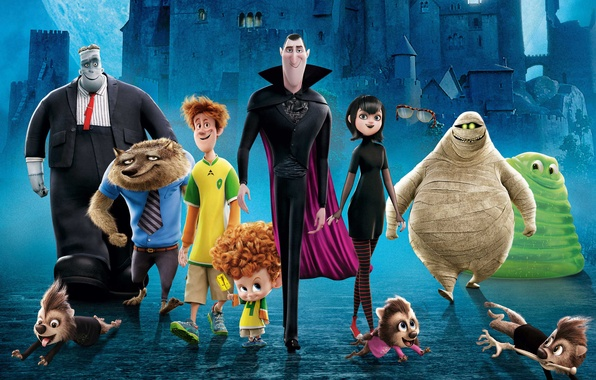Picture night, bridge, castle, cartoon, characters, Hotel Transylvania 2, Transylvania 2