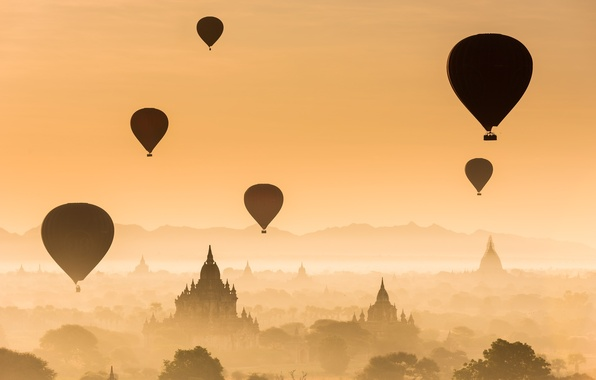 Picture forest, the sun, flight, sunset, balloons, temple, forest, architecture, sunset, Palace, old, old town, architecture, …