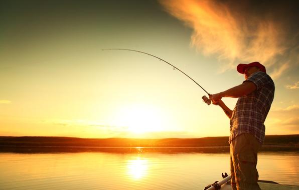 Picture light, sunset, water, man, fishing