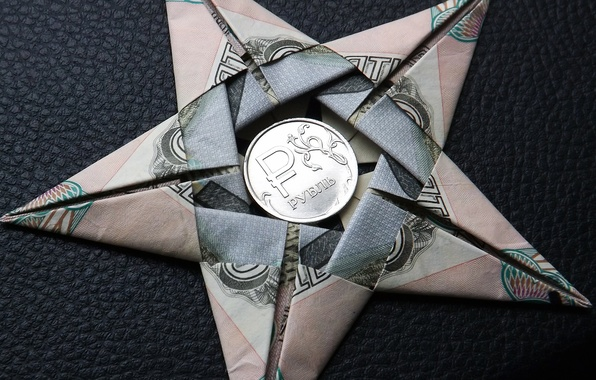 Picture STAR, SIGN, MACRO, FIGURE, COIN, MONEY, The RUBLE, ORIGAMI, CURRENCY, SYMBOL