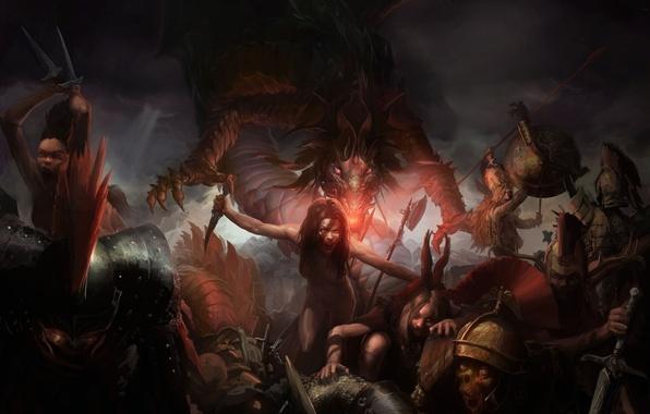 Picture battlefield, blood, underworld, knife, darkness, hell, demons, skeletons, demon girl
