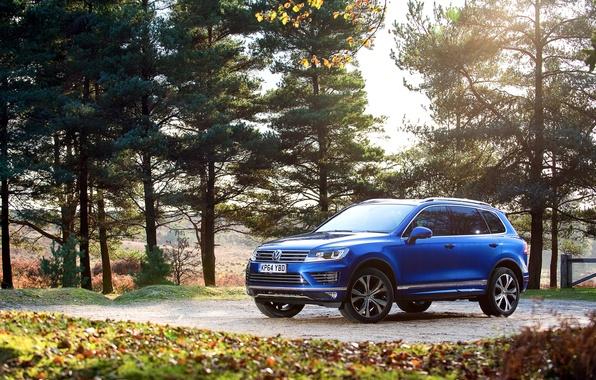 Picture photo, blue, Volkswagen, car, Touareg, 2014, R-Line