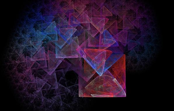 Picture pattern, color, fractal, black background, Abstraction, figure