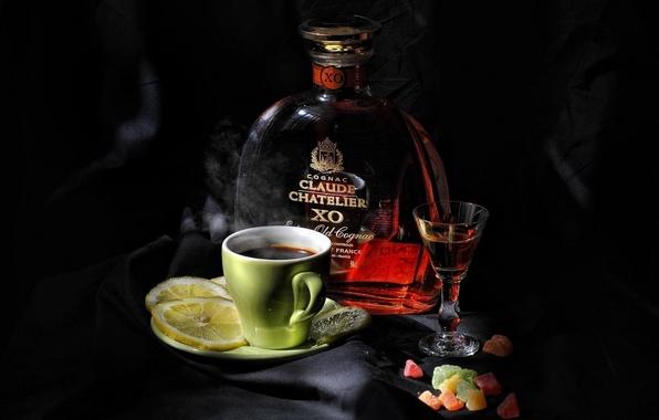 Picture the dark background, background, widescreen, Wallpaper, lemon, coffee, wallpaper, glass, lemon, still life, cognac, widescreen, …
