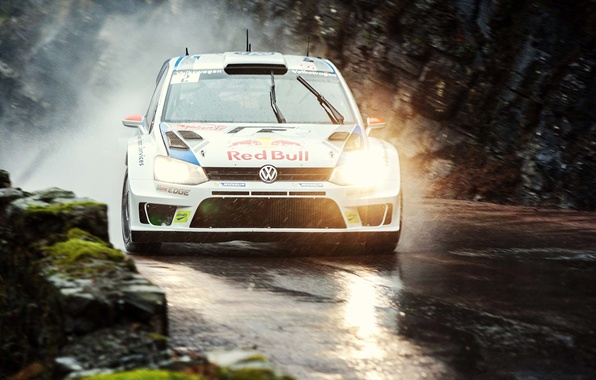 Picture Auto, Road, White, Volkswagen, Speed, Light, Rain, Lights, Red Bull, WRC, Rally, Polo, Overcast