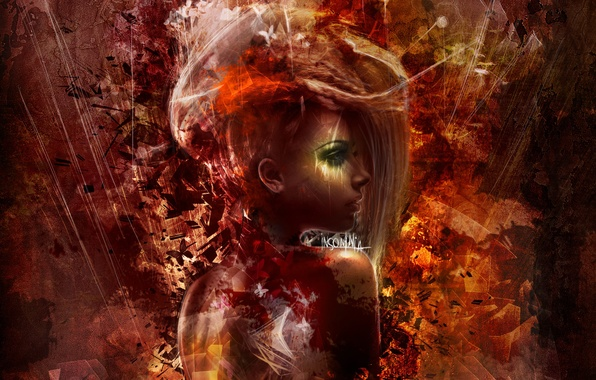 Picture look, girl, abstraction, hair, back, art, profile