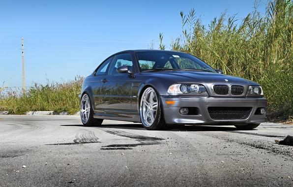 Picture the sky, asphalt, BMW, silver, BMW, silvery, e46