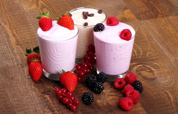 Picture berries, raspberry, coffee, milk, strawberry, currants, BlackBerry, strawberry, coffee, berries, raspberry, yogurt, yogurt