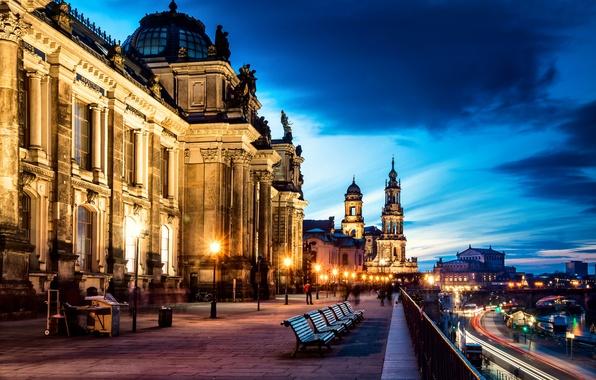 Picture road, the city, people, street, the evening, excerpt, Germany, Dresden, benches, Germany, Dresden, shop, Altstadt, …