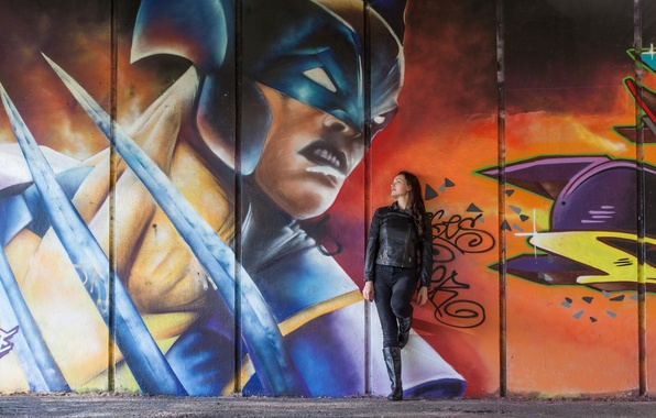 Picture girl, style, wall, graffiti