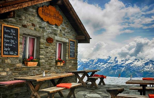 Picture winter, the sky, snow, mountains, nature, view, hut, cabin, the hotel, architecture, sky, nature, winter, …