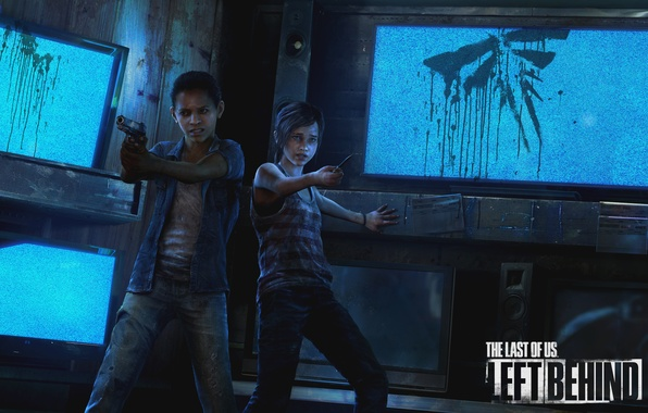 Picture gun, weapons, fear, sign, girls, logo, knife, logo, Ellie, screen, TV, PS3, DLC, girlfriend, Naughty …