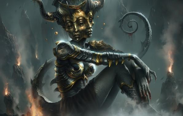Picture feet, body, mask, underworld, face, god, goddess of pain, Vammatar