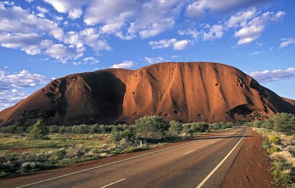 Picture road, trees, mountain, Australia, national Park, 1 Uluru-Kata Tjuta
