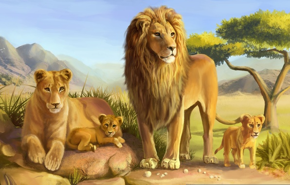 Picture cats, stones, tree, predators, Leo, family, art, Savannah, lions, lioness, cub, lion, wild
