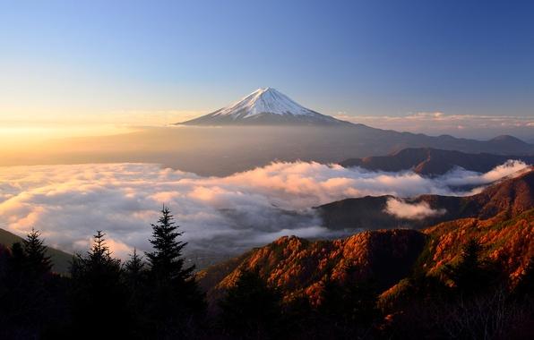 Picture autumn, light, mountain, morning, Japan, Fuji, stratovolcano, Mount Fuji, the island of Honshu
